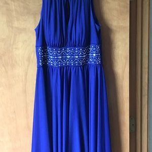 Deep Blue Shirred Dress with Beading